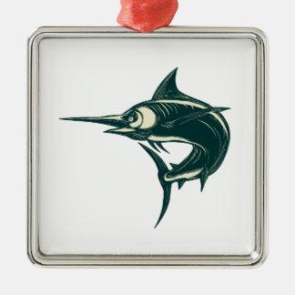 Atlantic Blue Marlin Scraperboard Metal Ornament