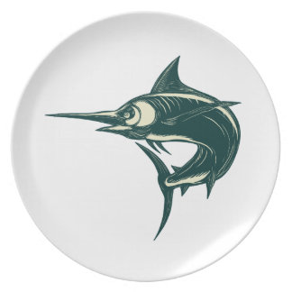 Atlantic Blue Marlin Scraperboard Plate