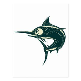 Atlantic Blue Marlin Scraperboard Postcard