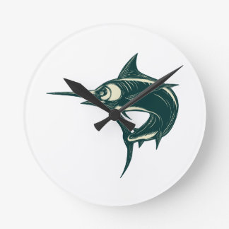 Atlantic Blue Marlin Scraperboard Round Clock