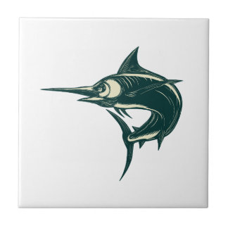 Atlantic Blue Marlin Scraperboard Tile