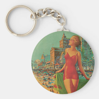 Atlantic City - America's All Year Resort Basic Round Button Key Ring