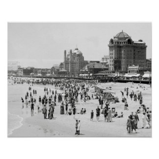 Atlantic City Beach, 1910. Vintage Summer Photo Poster