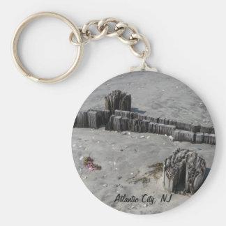 Atlantic City Beach Basic Round Button Key Ring