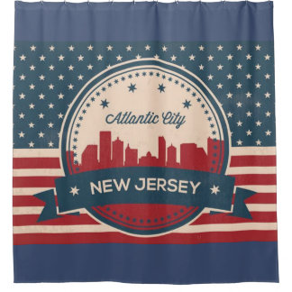 Atlantic City New Jersey Retro Skyline Shower Curtain