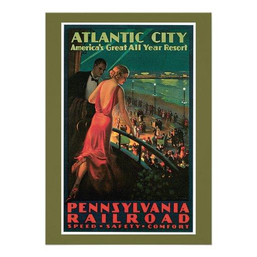 Atlantic City/ Pennsylvania Railroad Vintage Personalized Announcements
