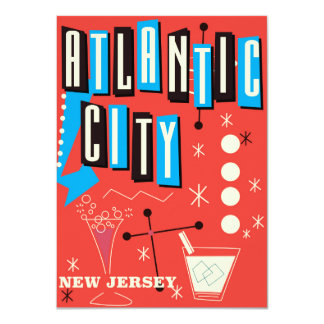Atlantic city Vintage gambling travel poster Card