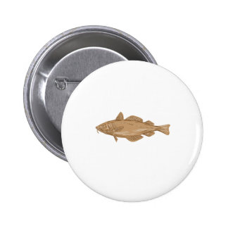 Atlantic Cod Codling Fish Drawing 6 Cm Round Badge