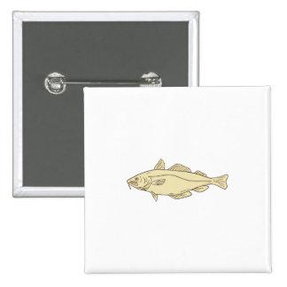 Atlantic Cod Fish Drawing 15 Cm Square Badge