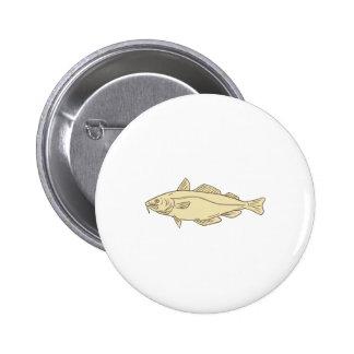 Atlantic Cod Fish Drawing 6 Cm Round Badge