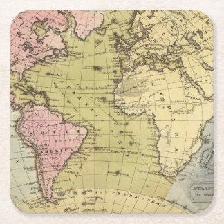 Atlantic Ocean Atlas Map Square Paper Coaster