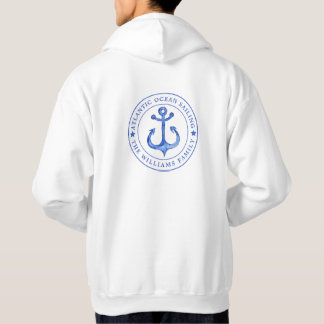 Atlantic Ocean Sailing   Navy Anchor  Personalized Hoodie