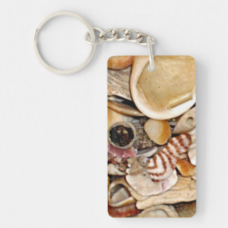 Atlantic Ocean Sea Shell Collection Double-Sided Rectangular Acrylic Key Ring