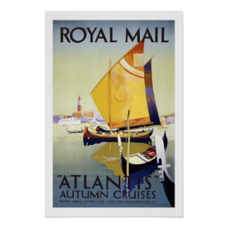 Atlantis Autumn Cruises Vintage Travel Posters