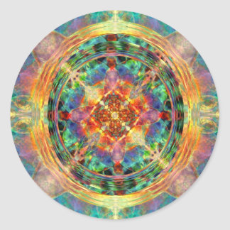 Atlantis inspired Rainbow Mandala Round Sticker