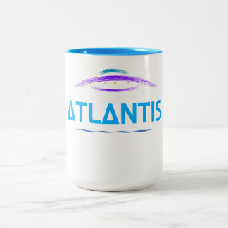 Atlantis, print shows a beautiful UFO sketch Two-Tone Coffee Mug