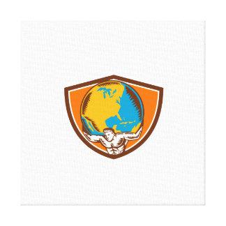 Atlas Carrying Globe Crest Woodcut Canvas Print