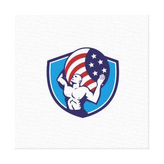 Atlas Carrying Globe USA Flag Crest Retro Canvas Print