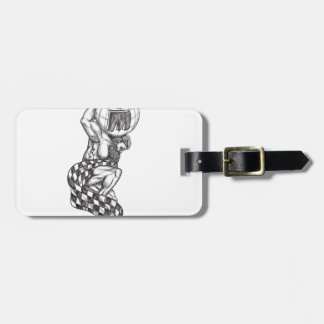 Atlas Lifting Globe Racing Flag Tattoo Luggage Tag