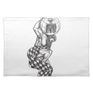 Atlas Lifting Globe Racing Flag Tattoo Placemat