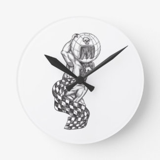 Atlas Lifting Globe Racing Flag Tattoo Round Clock