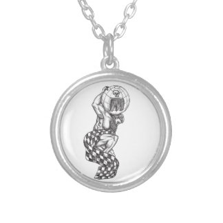 Atlas Lifting Globe Racing Flag Tattoo Silver Plated Necklace