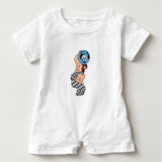 Atlas Lifting Globe Skull Checkered Flag Drawing Baby Bodysuit