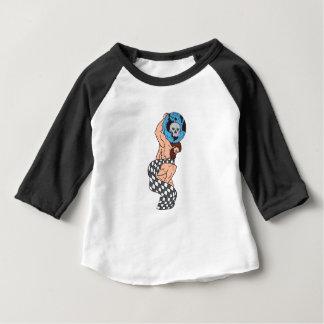 Atlas Lifting Globe Skull Checkered Flag Drawing Baby T-Shirt