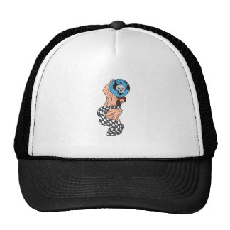 Atlas Lifting Globe Skull Checkered Flag Drawing Cap