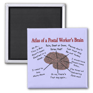 Atlas of a Postal Worker's Brain Square Magnet