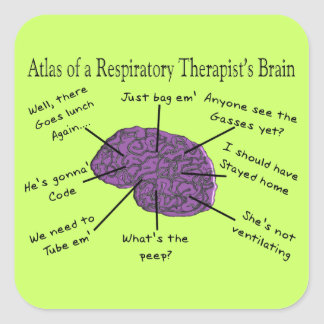Atlas of a Respiratory Therapist's Brain Square Sticker