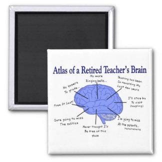 Atlas of a Retired Teacher's Brain Square Magnet