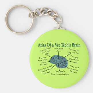 Atlas of a Vet Tech's Brain Basic Round Button Key Ring
