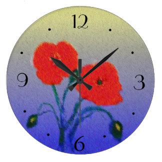 Atmospheric Poppie Flowers> Kitchen Clock