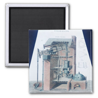 Atmospheric Steam Engine Square Magnet