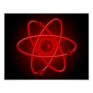 Atom in Red Poster