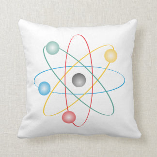 Atom With Colorful Electrons Cushion