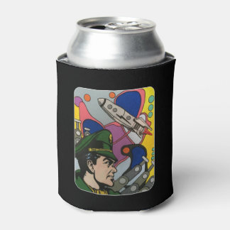 Atomic Abstract the Rocket Captain painting on a Can Cooler