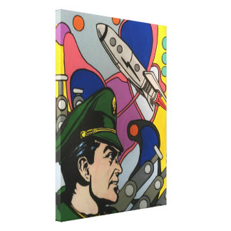 Atomic Abstract the Rocket Captain painting on a Canvas Print