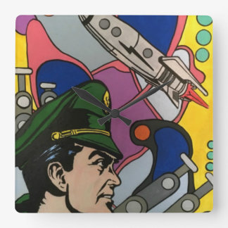 Atomic Abstract the Rocket Captain painting on a Square Wall Clock