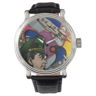 Atomic Abstract the Rocket Captain painting on a Watch