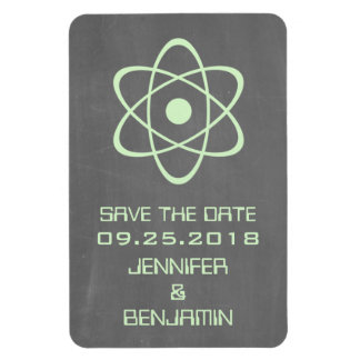 Atomic Chalkboard Save the Date Magnet, Green Rectangular Photo Magnet