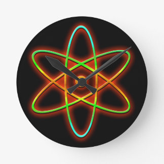 Atomic concept. wall clocks
