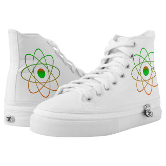Atomic Green/Red Zipz High Top Shoes,White Printed Shoes