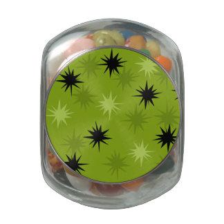 Atomic Green Starbursts Glass Candy Jar