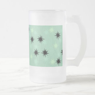 Atomic Jade and Mint Starbursts Frosted Glass Mug