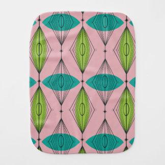 Atomic Pink Ogee & Starburst Burp Cloth