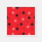 Atomic Red Starbursts Paper Cocktail Napkins Paper Napkin