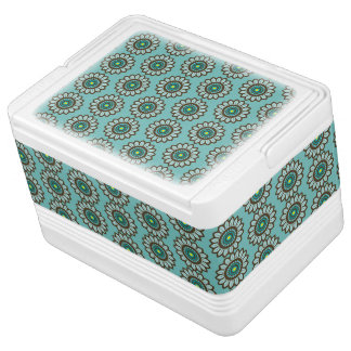 Atomic Retro Stylised Teal Flower Graphic Pattern Cooler