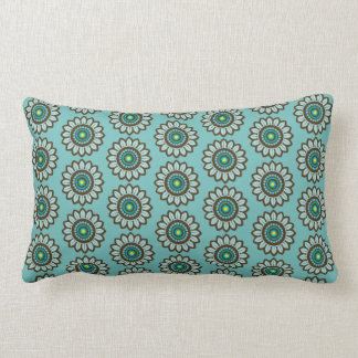 Atomic Retro Stylised Teal Flower Graphic Pattern Lumbar Cushion